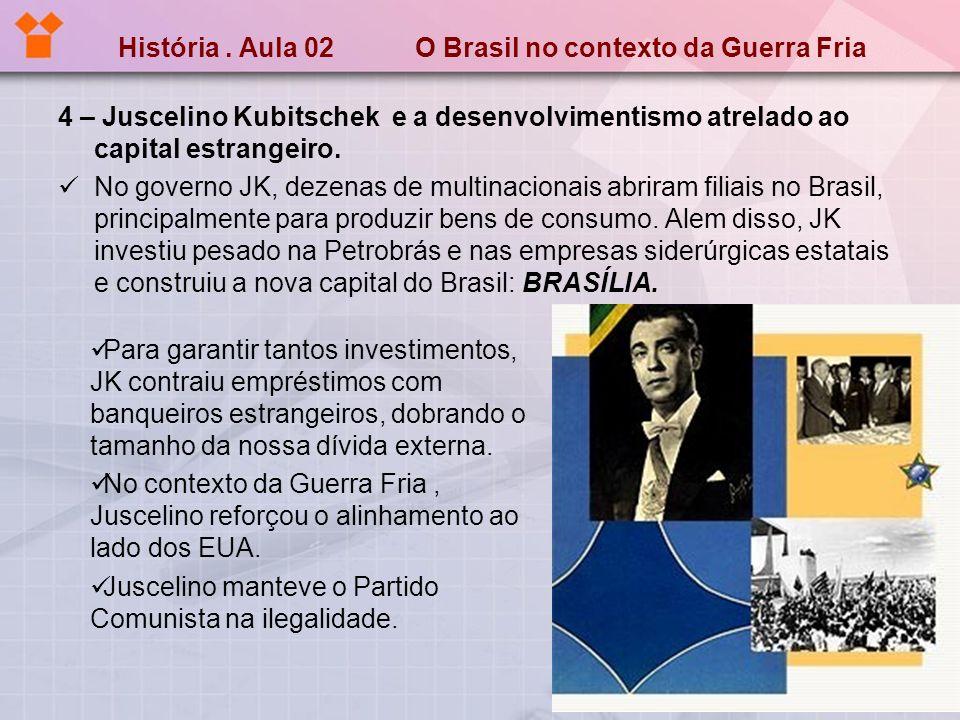 História. Aula 02 O Brasil no contexto da Guerra Fria 4 – Juscelino Kubitschek e a desenvolvimentismo atrelado ao capital estrangeiro. No governo JK,