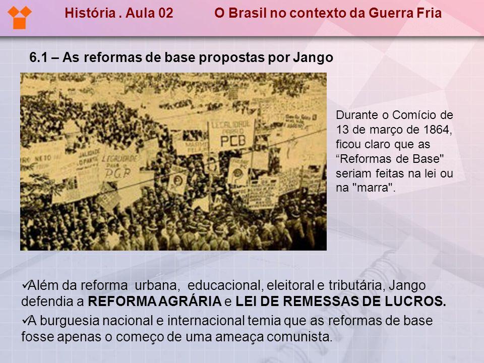6.1 – As reformas de base propostas por Jango Além da reforma urbana, educacional, eleitoral e tributária, Jango defendia a REFORMA AGRÁRIA e LEI DE R