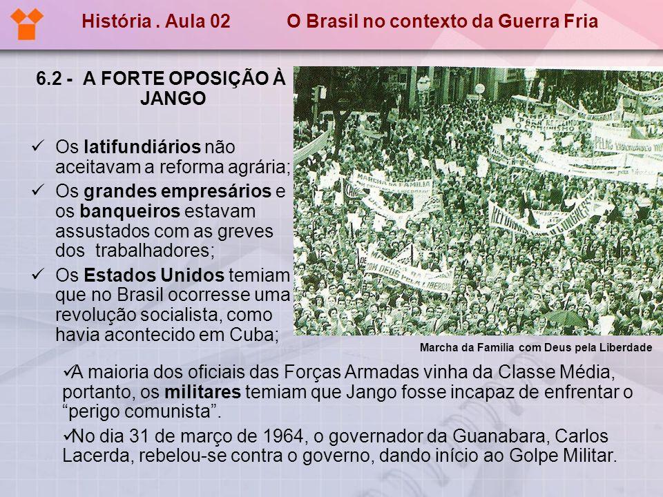 História. Aula 02 O Brasil no contexto da Guerra Fria 6.2 - A FORTE OPOSIÇÃO À JANGO Os latifundiários não aceitavam a reforma agrária; Os grandes emp