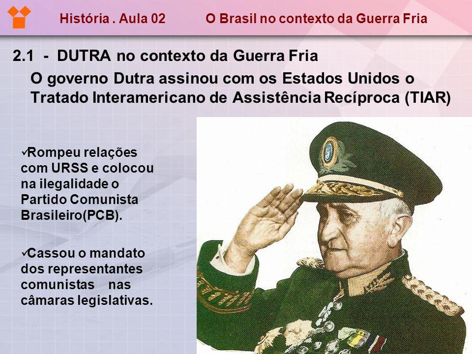 História. Aula 02 O Brasil no contexto da Guerra Fria 2.1 - DUTRA no contexto da Guerra Fria O governo Dutra assinou com os Estados Unidos o Tratado I