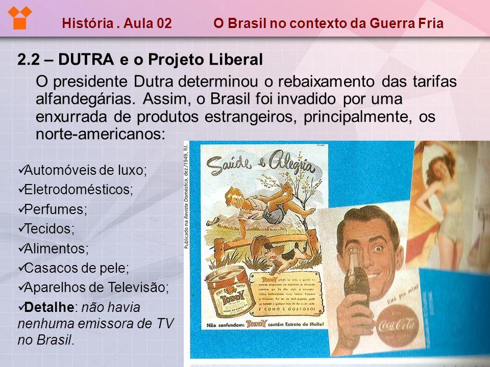 História. Aula 02 O Brasil no contexto da Guerra Fria 2.2 – DUTRA e o Projeto Liberal O presidente Dutra determinou o rebaixamento das tarifas alfande