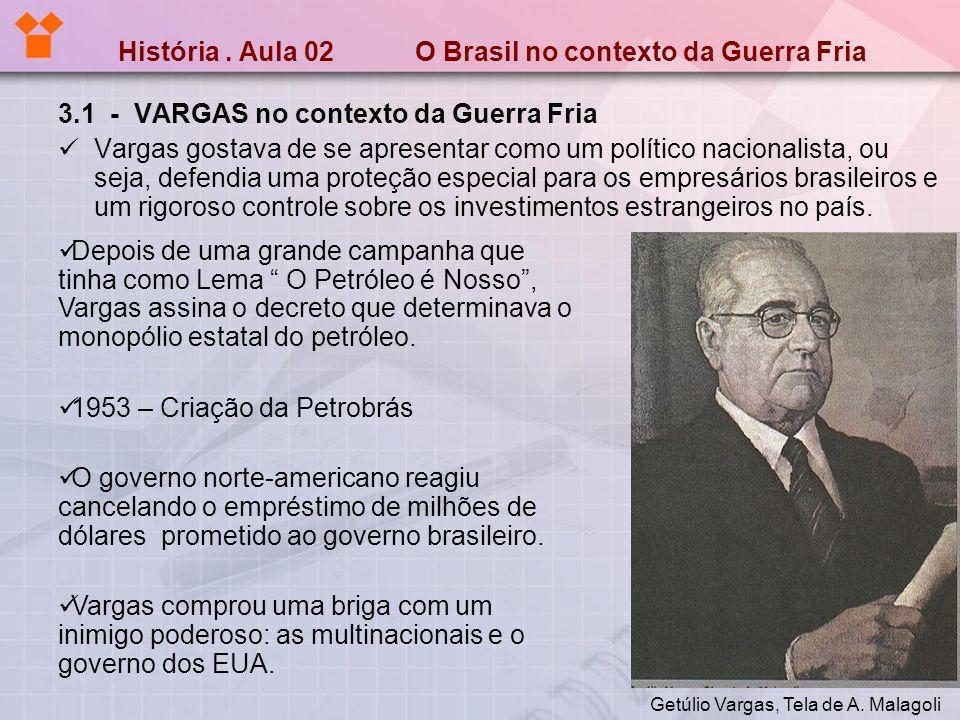 História. Aula 02 O Brasil no contexto da Guerra Fria 3.1 - VARGAS no contexto da Guerra Fria Vargas gostava de se apresentar como um político naciona