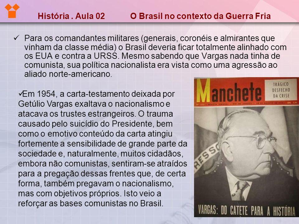História. Aula 02 O Brasil no contexto da Guerra Fria Para os comandantes militares (generais, coronéis e almirantes que vinham da classe média) o Bra