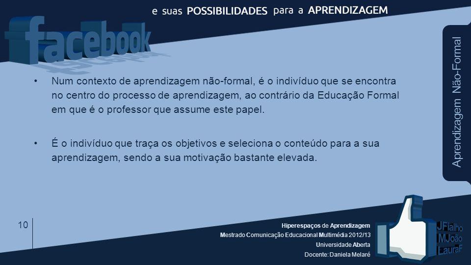 Hiperespaços de Aprendizagem Mestrado Comunicação Educacional Multimédia 2012/13 Universidade Aberta Docente: Daniela Melaré Aprendizagem Não-Formal N