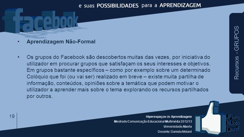 Hiperespaços de Aprendizagem Mestrado Comunicação Educacional Multimédia 2012/13 Universidade Aberta Docente: Daniela Melaré Recursos - GRUPOS Aprendi