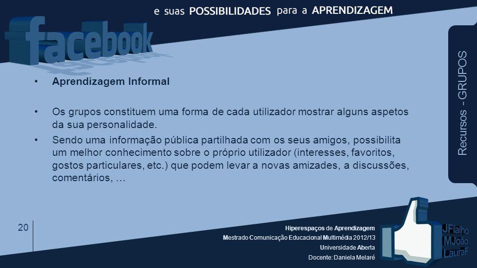 Hiperespaços de Aprendizagem Mestrado Comunicação Educacional Multimédia 2012/13 Universidade Aberta Docente: Daniela Melaré Aprendizagem Informal Os