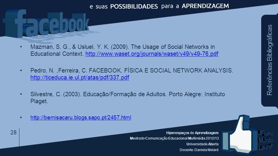 Hiperespaços de Aprendizagem Mestrado Comunicação Educacional Multimédia 2012/13 Universidade Aberta Docente: Daniela Melaré Mazman, S. G., & Usluel,
