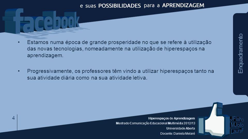 Hiperespaços de Aprendizagem Mestrado Comunicação Educacional Multimédia 2012/13 Universidade Aberta Docente: Daniela Melaré Enquadramento Estamos num