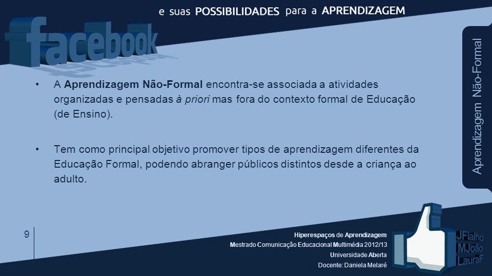 Hiperespaços de Aprendizagem Mestrado Comunicação Educacional Multimédia 2012/13 Universidade Aberta Docente: Daniela Melaré Aprendizagem Não-Formal A