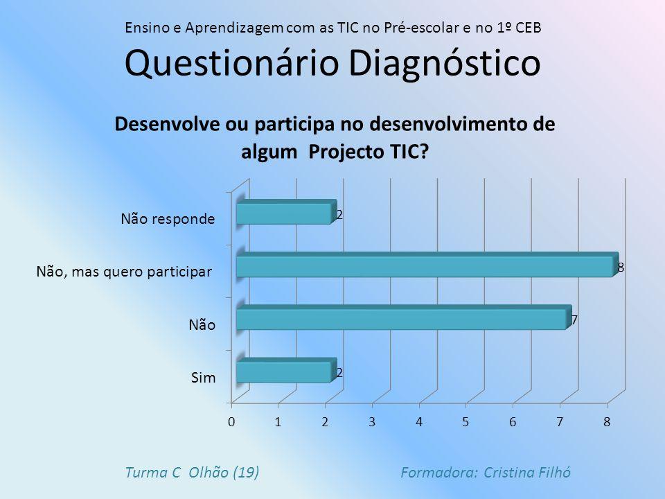 Questionário Diagnóstico Ensino e Aprendizagem com as TIC no Pré-escolar e no 1º CEB Turma C Olhão (19) Formadora: Cristina Filhó
