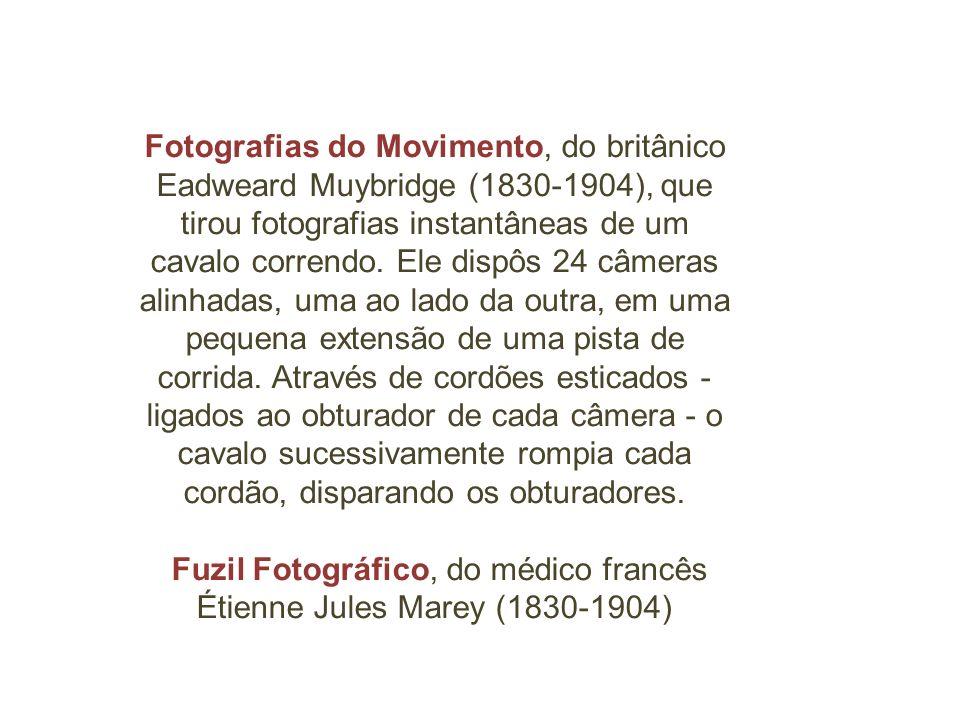 Fotografias do Movimento, do britânico Eadweard Muybridge (1830-1904), que tirou fotografias instantâneas de um cavalo correndo. Ele dispôs 24 câmeras