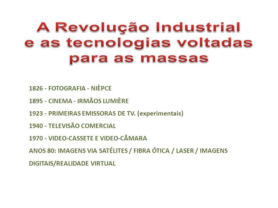1826 - FOTOGRAFIA - NIÈPCE 1895 - CINEMA - IRMÃOS LUMIÈRE 1923 - PRIMEIRAS EMISSORAS DE TV. (experimentais) 1940 - TELEVISÃO COMERCIAL 1970 - VIDEO-CA