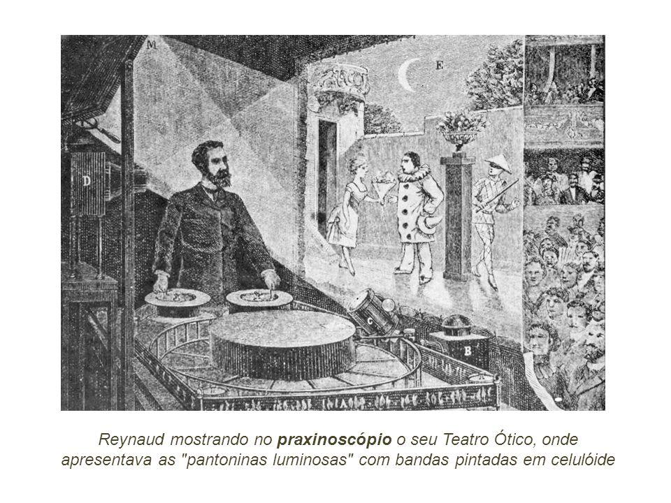 Reynaud mostrando no praxinoscópio o seu Teatro Ótico, onde apresentava as