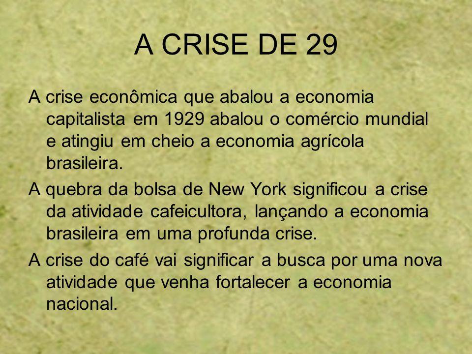 A CRISE DE 29 A crise econômica que abalou a economia capitalista em 1929 abalou o comércio mundial e atingiu em cheio a economia agrícola brasileira.