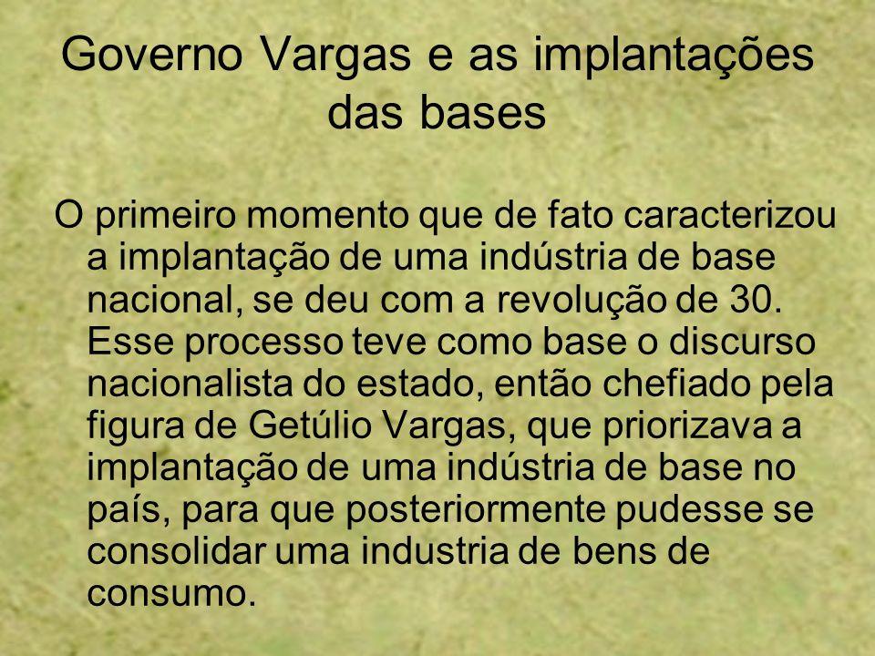 Governo Vargas e as implantações das bases O primeiro momento que de fato caracterizou a implantação de uma indústria de base nacional, se deu com a r