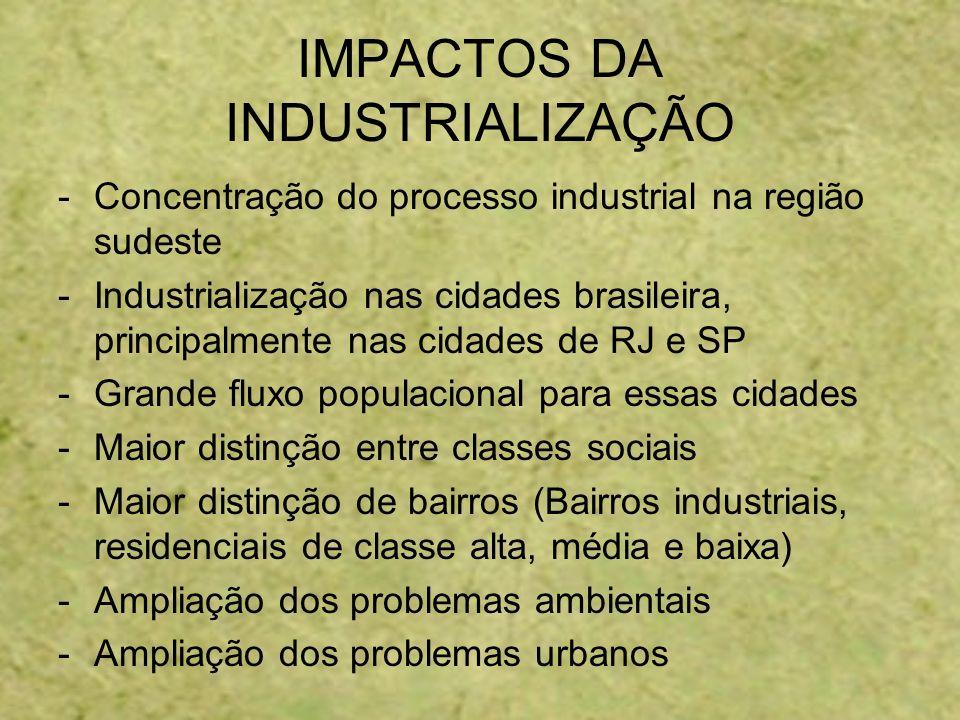 IMPACTOS DA INDUSTRIALIZAÇÃO -Concentração do processo industrial na região sudeste -Industrialização nas cidades brasileira, principalmente nas cidad