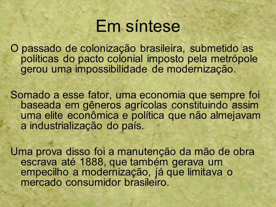Em síntese O passado de colonização brasileira, submetido as políticas do pacto colonial imposto pela metrópole gerou uma impossibilidade de moderniza