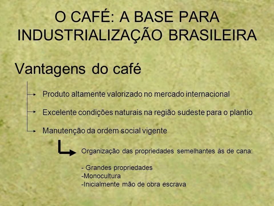 O CAFÉ: A BASE PARA INDUSTRIALIZAÇÃO BRASILEIRA Vantagens do café Produto altamente valorizado no mercado internacional Excelente condições naturais n