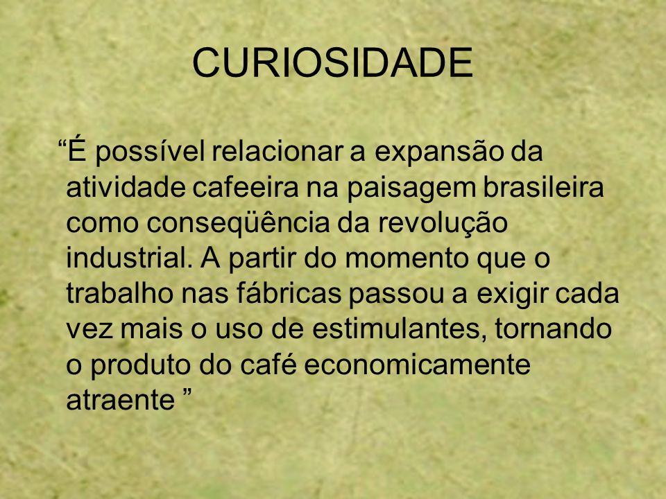 CURIOSIDADE É possível relacionar a expansão da atividade cafeeira na paisagem brasileira como conseqüência da revolução industrial. A partir do momen