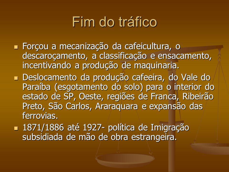 Fim do tráfico Forçou a mecanização da cafeicultura, o descaroçamento, a classificação e ensacamento, incentivando a produção de maquinaria. Forçou a