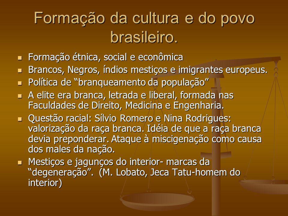 Formação da cultura e do povo brasileiro. Formação étnica, social e econômica Formação étnica, social e econômica Brancos, Negros, índios mestiços e i