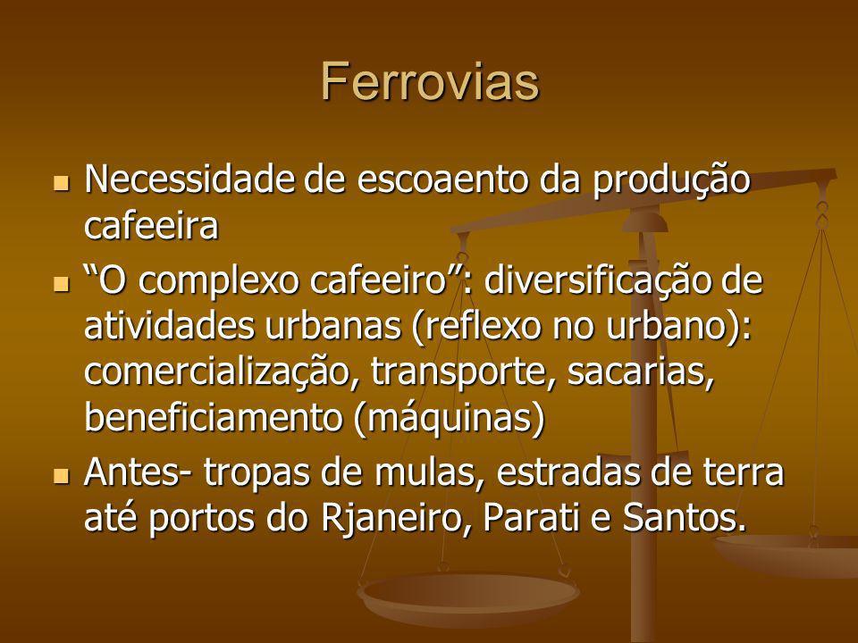 Ferrovias Necessidade de escoaento da produção cafeeira Necessidade de escoaento da produção cafeeira O complexo cafeeiro: diversificação de atividade