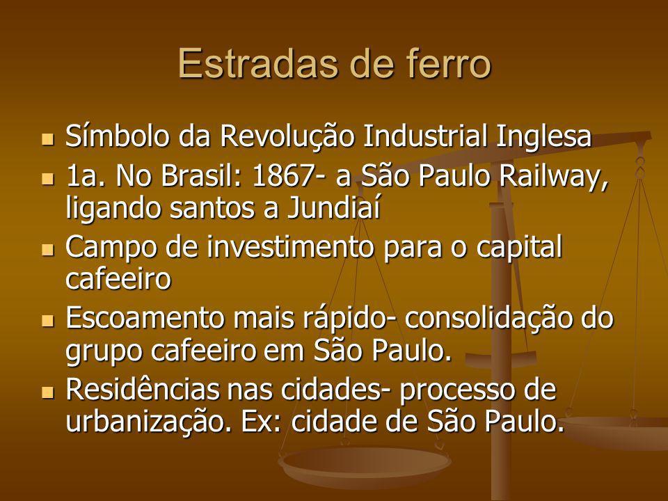 Estradas de ferro Símbolo da Revolução Industrial Inglesa Símbolo da Revolução Industrial Inglesa 1a. No Brasil: 1867- a São Paulo Railway, ligando sa