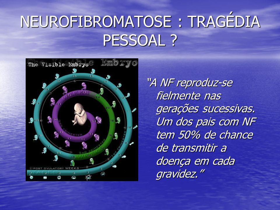 NEUROFIBROMATOSE : TRAGÉDIA PESSOAL ? A NF reproduz-se fielmente nas gerações sucessivas. Um dos pais com NF tem 50% de chance de transmitir a doença