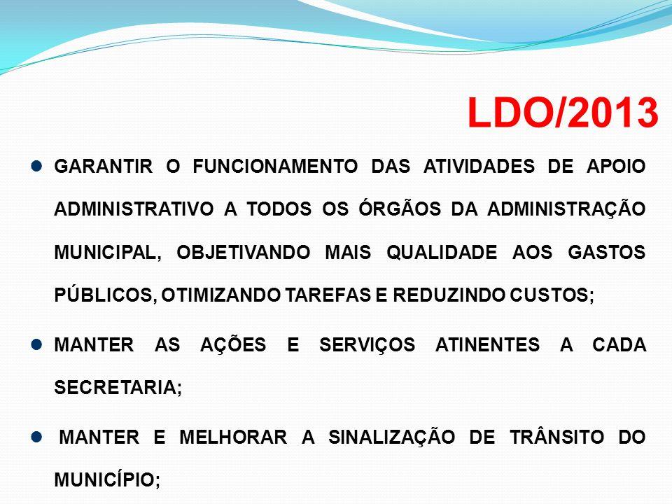 LDO/2013 GARANTIR O FUNCIONAMENTO DAS ATIVIDADES DE APOIO ADMINISTRATIVO A TODOS OS ÓRGÃOS DA ADMINISTRAÇÃO MUNICIPAL, OBJETIVANDO MAIS QUALIDADE AOS