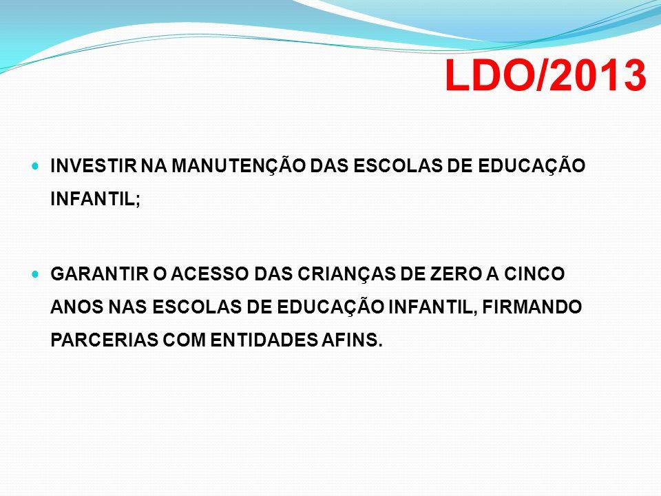 LDO/2013 INVESTIR NA MANUTENÇÃO DAS ESCOLAS DE EDUCAÇÃO INFANTIL; GARANTIR O ACESSO DAS CRIANÇAS DE ZERO A CINCO ANOS NAS ESCOLAS DE EDUCAÇÃO INFANTIL