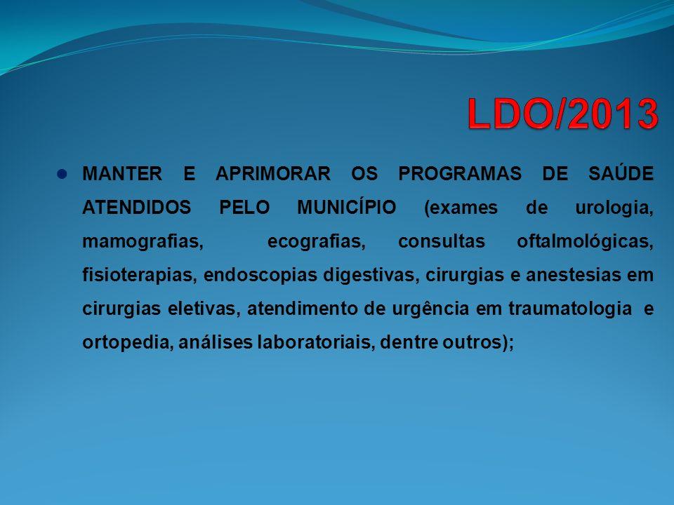 MANTER E APRIMORAR OS PROGRAMAS DE SAÚDE ATENDIDOS PELO MUNICÍPIO (exames de urologia, mamografias, ecografias, consultas oftalmológicas, fisioterapia
