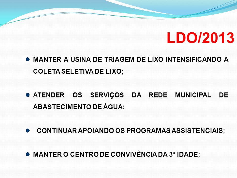 LDO/2013 MANTER A USINA DE TRIAGEM DE LIXO INTENSIFICANDO A COLETA SELETIVA DE LIXO; ATENDER OS SERVIÇOS DA REDE MUNICIPAL DE ABASTECIMENTO DE ÁGUA; C