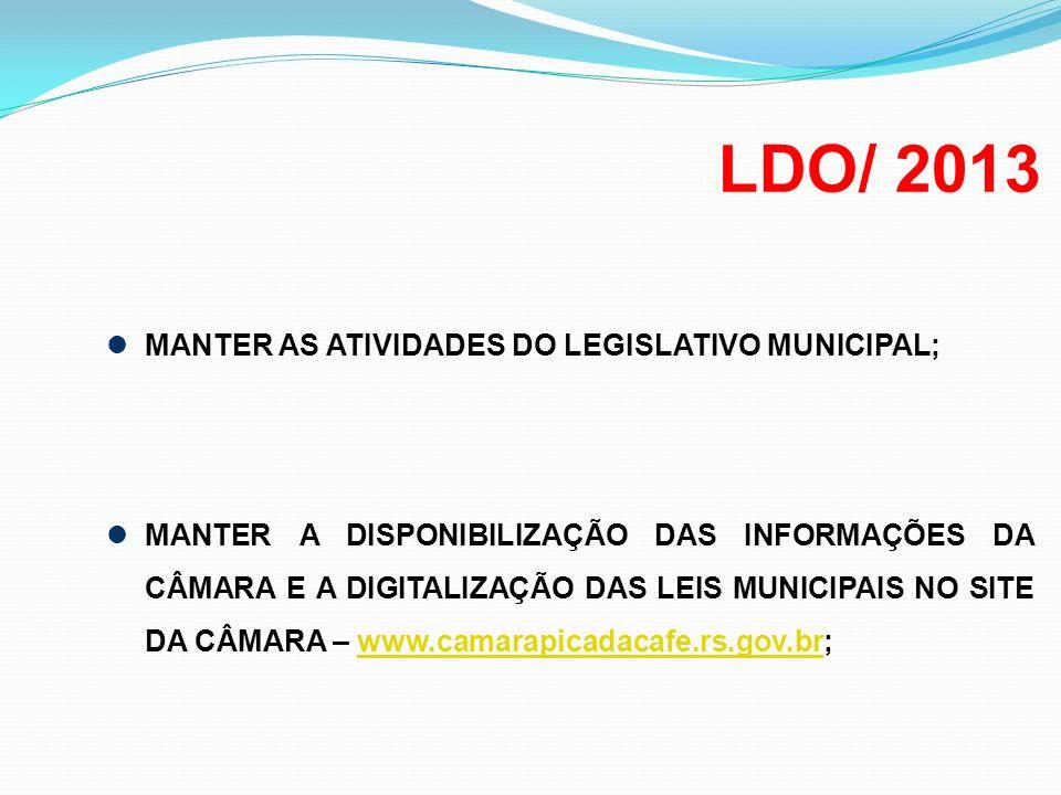 LDO/ 2013 MANTER AS ATIVIDADES DO LEGISLATIVO MUNICIPAL; MANTER A DISPONIBILIZAÇÃO DAS INFORMAÇÕES DA CÂMARA E A DIGITALIZAÇÃO DAS LEIS MUNICIPAIS NO