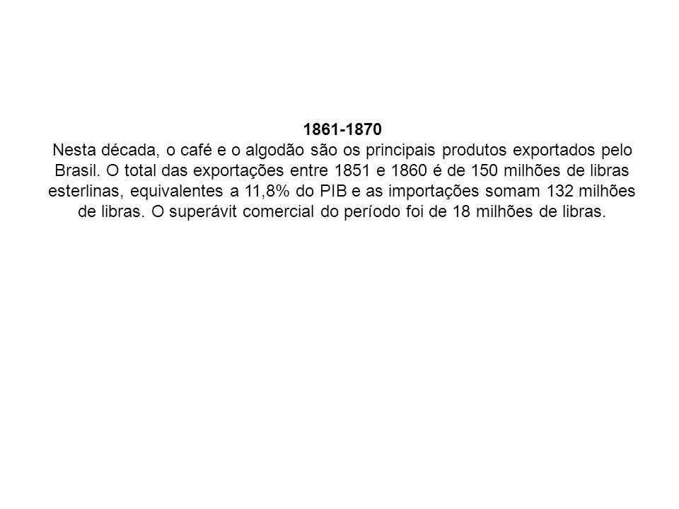1861-1870 Nesta década, o café e o algodão são os principais produtos exportados pelo Brasil. O total das exportações entre 1851 e 1860 é de 150 milhõ