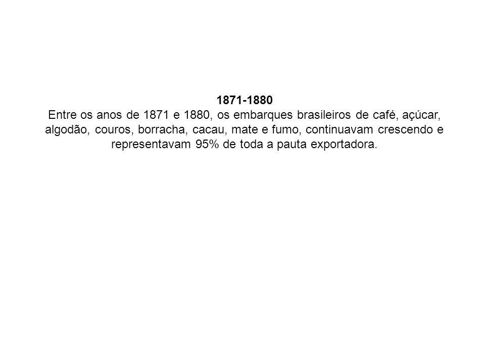 1871-1880 Entre os anos de 1871 e 1880, os embarques brasileiros de café, açúcar, algodão, couros, borracha, cacau, mate e fumo, continuavam crescendo