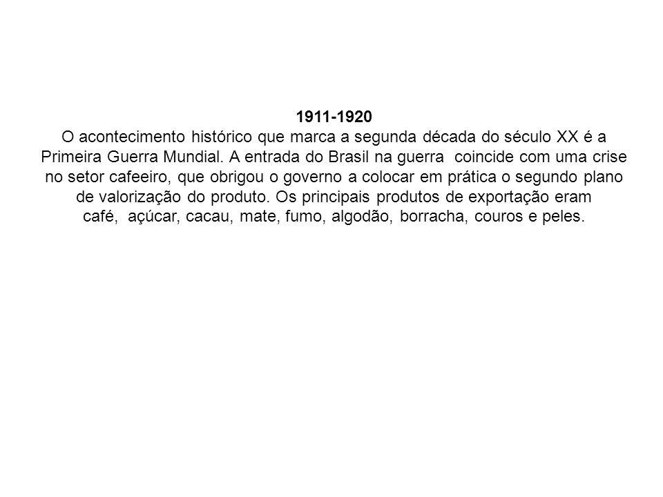 1911-1920 O acontecimento histórico que marca a segunda década do século XX é a Primeira Guerra Mundial. A entrada do Brasil na guerra coincide com um