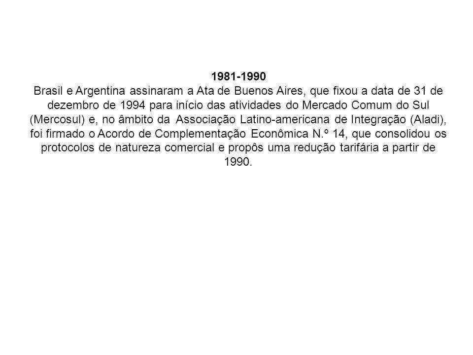 1981-1990 Brasil e Argentina assinaram a Ata de Buenos Aires, que fixou a data de 31 de dezembro de 1994 para início das atividades do Mercado Comum d