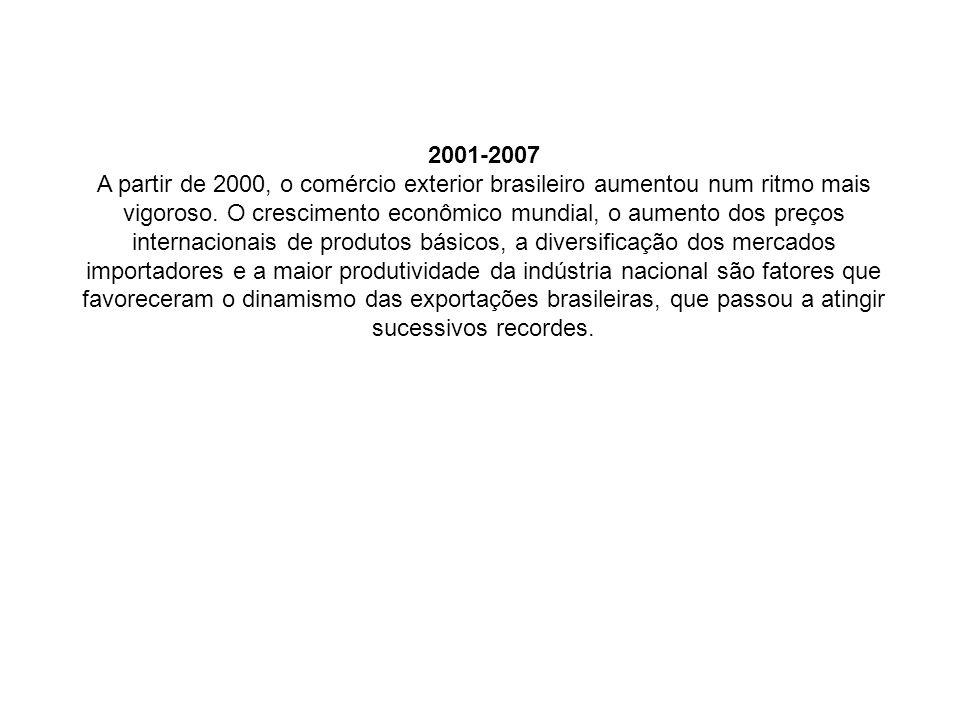 2001-2007 A partir de 2000, o comércio exterior brasileiro aumentou num ritmo mais vigoroso. O crescimento econômico mundial, o aumento dos preços int