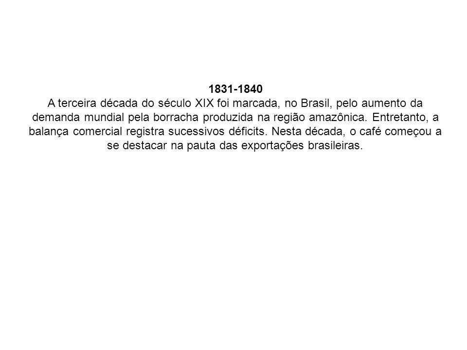 1831-1840 A terceira década do século XIX foi marcada, no Brasil, pelo aumento da demanda mundial pela borracha produzida na região amazônica. Entreta