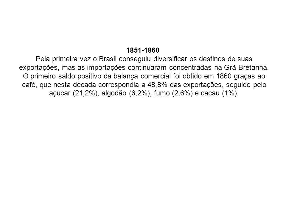 1851-1860 Pela primeira vez o Brasil conseguiu diversificar os destinos de suas exportações, mas as importações continuaram concentradas na Grã-Bretan