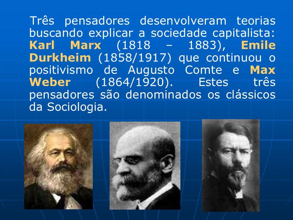 Três pensadores desenvolveram teorias buscando explicar a sociedade capitalista: Karl Marx (1818 – 1883), Emile Durkheim (1858/1917) que continuou o positivismo de Augusto Comte e Max Weber (1864/1920).