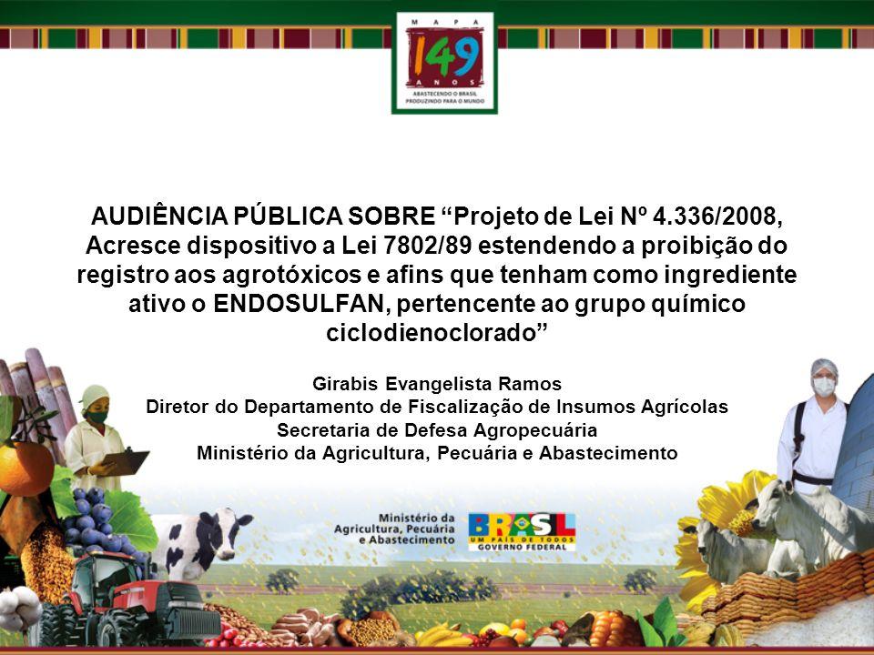 AUDIÊNCIA PÚBLICA SOBRE Projeto de Lei Nº 4.336/2008, Acresce dispositivo a Lei 7802/89 estendendo a proibição do registro aos agrotóxicos e afins que