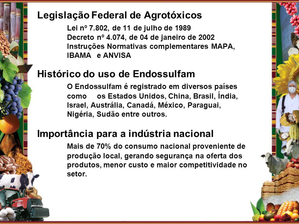 Legislação Federal de Agrotóxicos Lei nº 7.802, de 11 de julho de 1989 Decreto nº 4.074, de 04 de janeiro de 2002 Instruções Normativas complementares