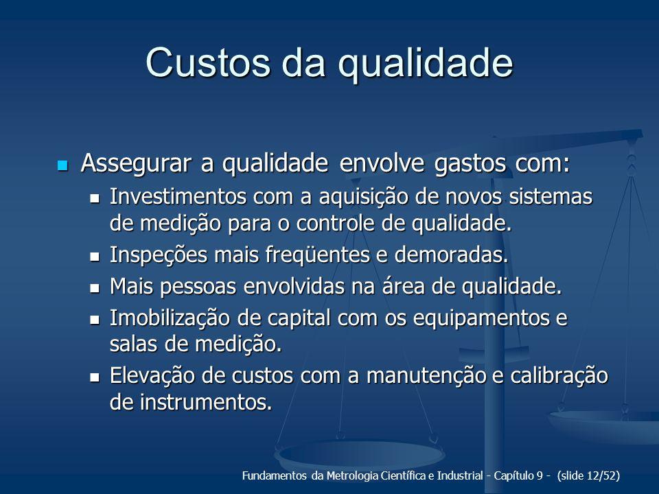Fundamentos da Metrologia Científica e Industrial - Capítulo 9 - (slide 12/52) Custos da qualidade Assegurar a qualidade envolve gastos com: Assegurar