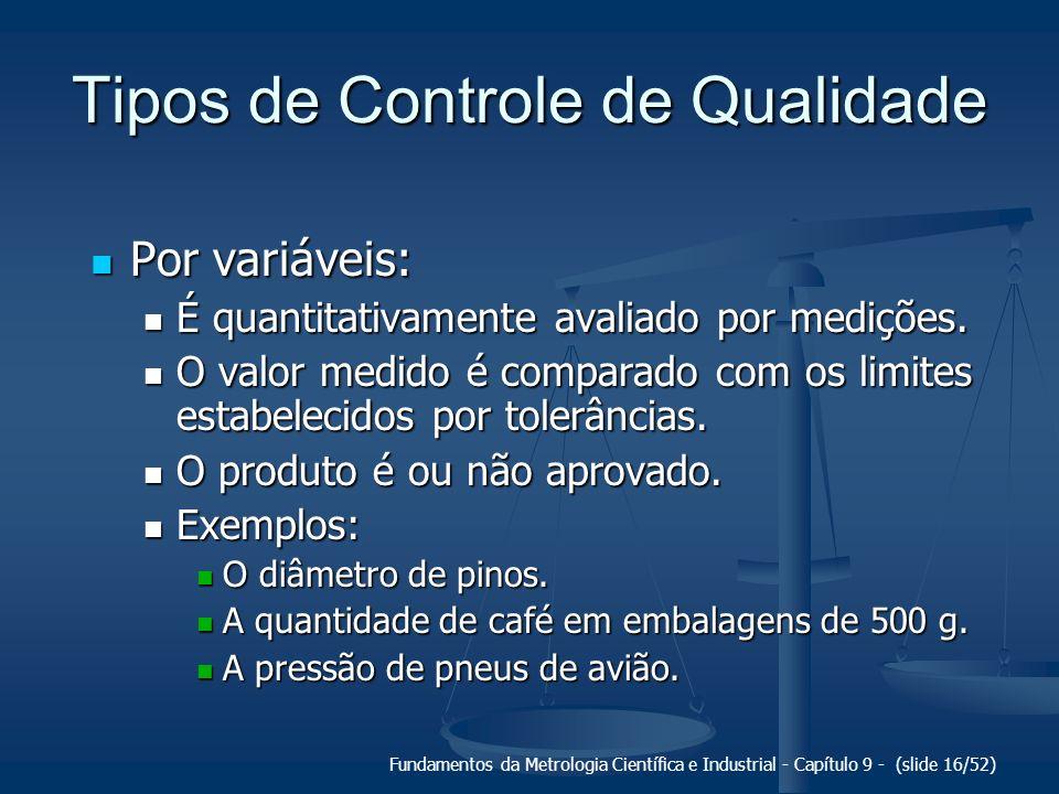Fundamentos da Metrologia Científica e Industrial - Capítulo 9 - (slide 16/52) Tipos de Controle de Qualidade Por variáveis: Por variáveis: É quantita