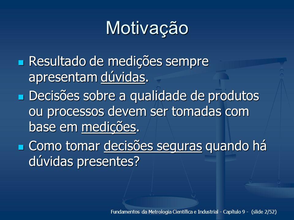 Fundamentos da Metrologia Científica e Industrial - Capítulo 9 - (slide 2/52) Motivação Resultado de medições sempre apresentam dúvidas. Resultado de