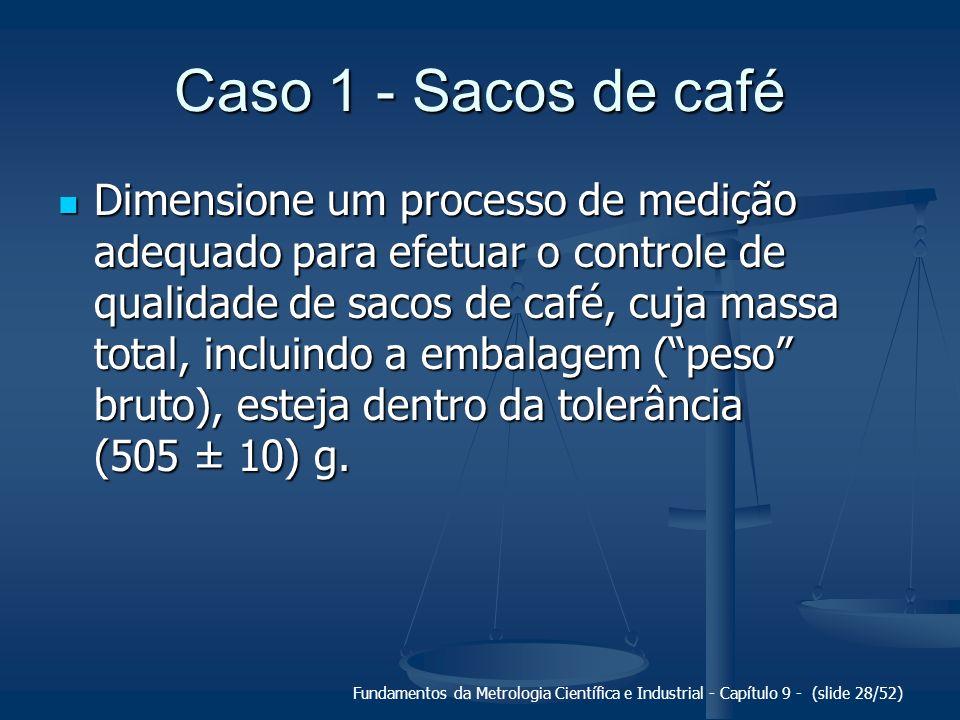 Fundamentos da Metrologia Científica e Industrial - Capítulo 9 - (slide 28/52) Caso 1 - Sacos de café Dimensione um processo de medição adequado para