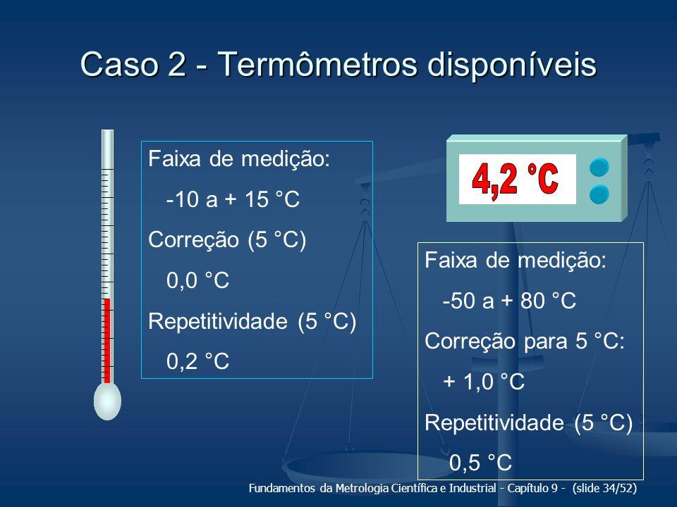 Fundamentos da Metrologia Científica e Industrial - Capítulo 9 - (slide 34/52) Caso 2 - Termômetros disponíveis Faixa de medição: -10 a + 15 °C Correç