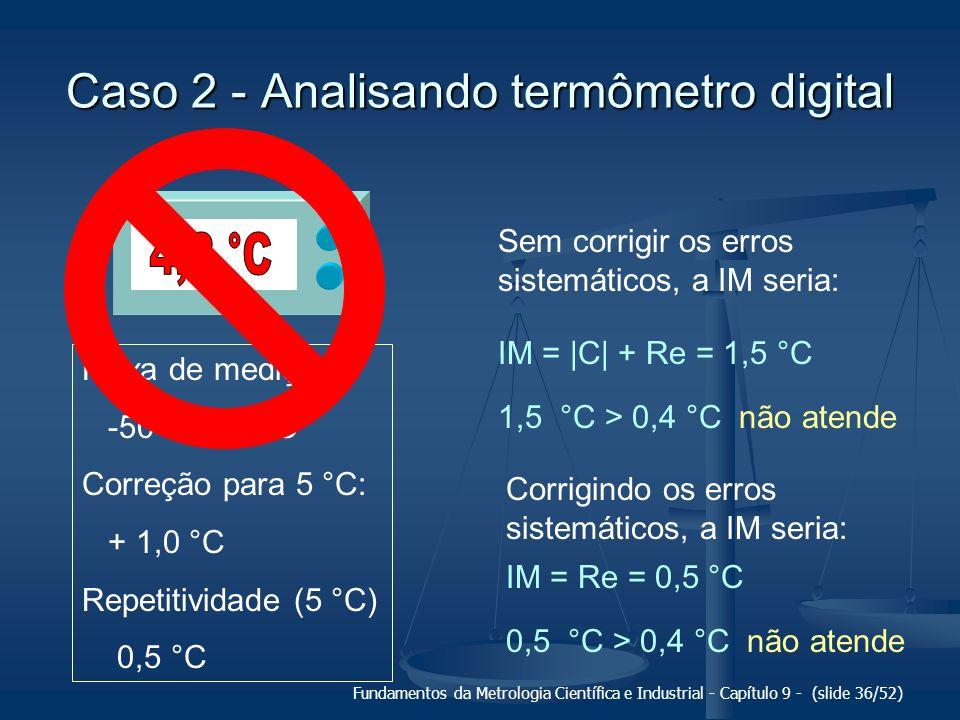 Fundamentos da Metrologia Científica e Industrial - Capítulo 9 - (slide 36/52) Caso 2 - Analisando termômetro digital Faixa de medição: -50 a + 80 °C