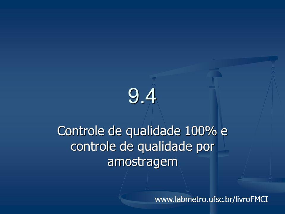 www.labmetro.ufsc.br/livroFMCI 9.4 Controle de qualidade 100% e controle de qualidade por amostragem